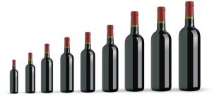 Comparación de las dimensiones de las botellas de burdeos
